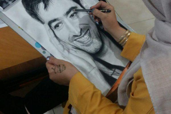 طراحی سیاه قلم چهره شهاب حسینی