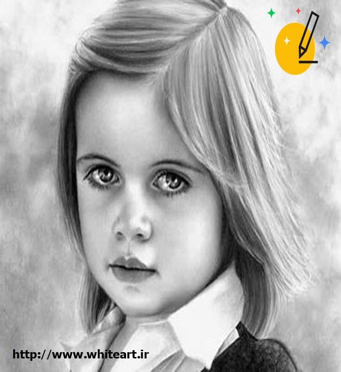 طراحی سیاه قلم دخترانه
