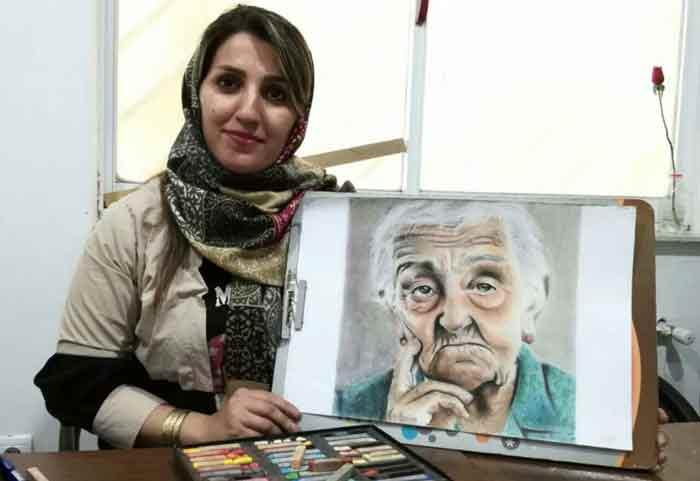 طراحی چهره پیر زن