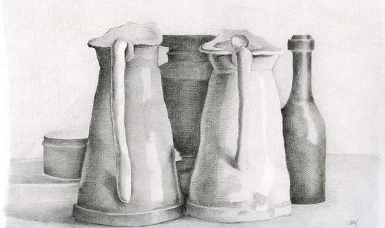 نقاشی طبیعت بی جان سیاه قلم